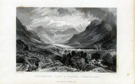 1835  BUTTERMERE LAKE and VILLAGE, CUMBERLAND Antique Print